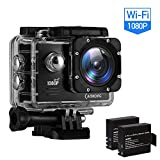 CAMKONG Action Kamera Sports wasserdichte Kamera Action Cam 1080P 14MP Wi-Fi 2.0'' LCD Bildschirm Full HD 170° Weitwinkelobjektiv(Dual 1050mAh Batterien)