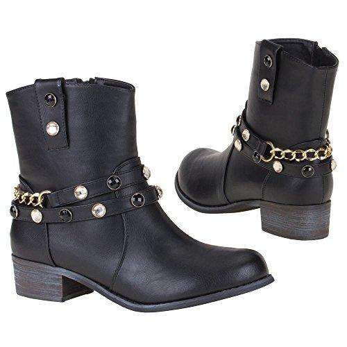 Damen Schuhe, 0433-PA, STIEFELETTEN Schwarz 0433-PA