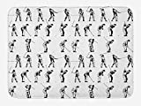 OQUYCZ Golf Bath Mat, Golf Swing Shown in Fourteen Stages Sports Hobby Themed Sketch Art Storyboard Print, Plush Bathroom Decor Mat with Non Slip Backing, 23.6 W X 15.7 W inches, Black White...