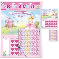 The Home Fusion Company Childrens Girls Pink Princess Reward Chart Dry Wipe Pen + Stickers Toys