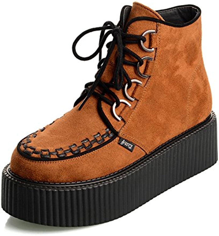 RoseG Mujer Polacchine Zapatos Plataforma Botas Cordones Negro Orange36