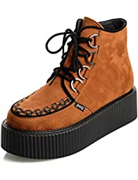 RoseG Mujer Polacchine Zapatos Plataforma Botas Cordones Negro Orange37
