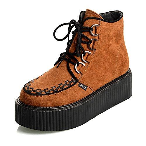 RoseG Damen Schnürsenkel Flache Plateauschuhe High Top Creepers Boots Orange Size38