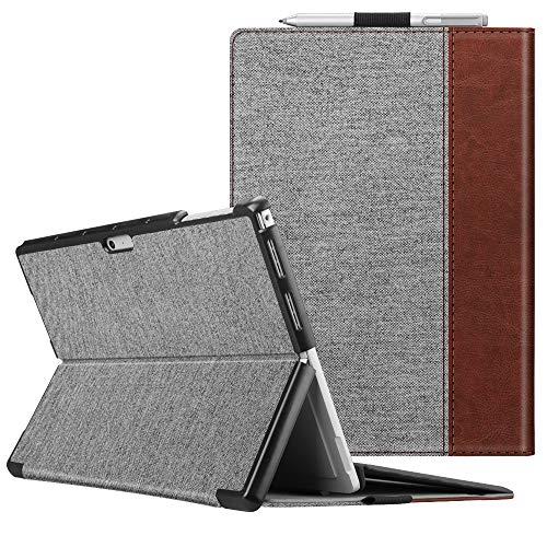 Fintie Schutzhülle für Surface Pro 6 - Business Hülle mit Harter Schale, anpassbarer Betrachtungswinkel, kompatibel mit der Type Cover Tastatur für Microsoft Surface Pro 6 / Pro 5 / Pro 4, Denim grau