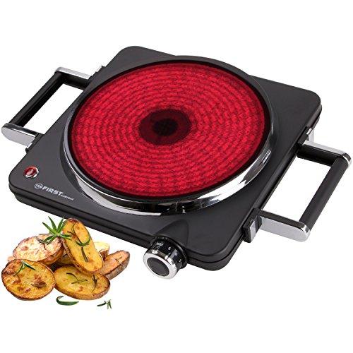 Réchaud infrarouge 1500 Watt | Foyer de 22 cm | Convient pour tout type de casserole | 300 °C en 30 secondes | Poignées démontables | Plaque de cuisso...