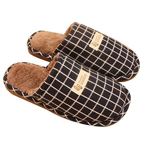 TELLW Inverno Pantofole in Cotone Maschile Signore Coppie Semplice Piazza Lattice Drag e Slip-Proof Caldo casa Peluche Pantofole Blu