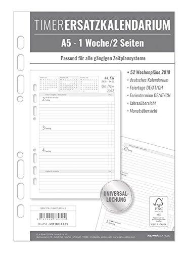 Timer Ersatzkalendarium A5 2018 - Bürokalender/Buchkalender A5 - Universallochung - 1 Woche 2Seite - 128 Seiten