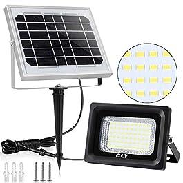 Faretto Solare CLY di 60 LED, Lampada Solare da Esterno Impermeabile(IP66), Luci Solari da Esterni con 60 Lampadine LED Illuminazione, 6000K Bianco, per Terrazza, Balcone, Cortile, Muro e Campeggio