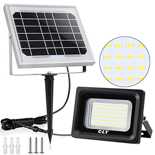 Foco Solar CLY 60 LED Luz Solar Lámpara Solar Exterior con Batería 4000mAh Panel Solar IP66 Impermeable, Lámpara Solar de Energía Solar para Jardín,Calle y Garaje【III Generación】