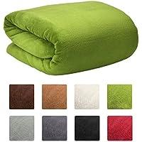 Beautissu XXL Manta Aurelia de sofá y cama suave cálida 150x200cm Microfibra forro polar Coral ÖKO-TEX Verde