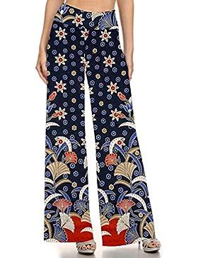 Kairrun Pantalones para Mujer Vistoso Pantalón Estampado Llamarada Ancho Pierna Palazzo Opcional