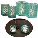 LS-LebenStil 2X Glas Teelichthalter Windlicht-Halter Blau Türkis 10x9cm / 8,5x7cm
