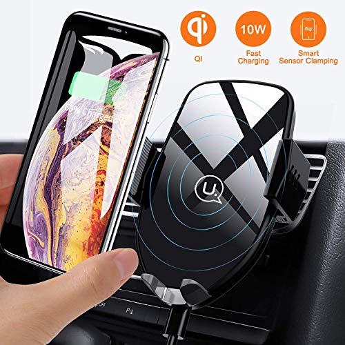 USAMS Qi Ladestation Auto, Wireless Charger Handyhalterung Kfz Handy Halterung Induktiv Induktion Autohalterung Lüftung für iPhone XS Max/XR/X/8 Plus, Huawei Samsung Galaxy S10/S9/S8/S7 Note 10/9/8