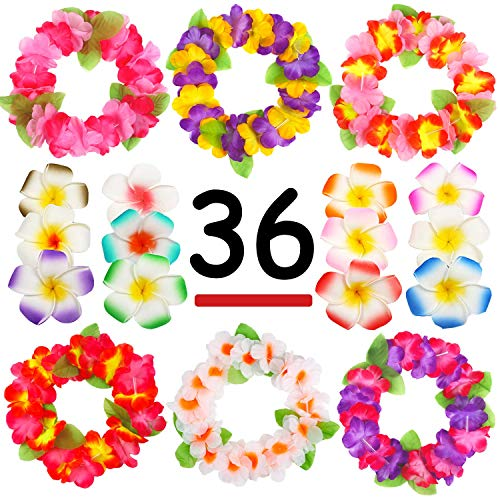 Zeagro 36PCS Bunte Tropische Luau Hawaiian Leis Blumen Stirnband Kopfschmuck Halsketten für Party Supplies, Birthday Party Favors, Hochzeit, Ostern Dekorationen