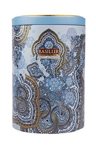 Basilur Ceylon Black Tea with white and blue cornflower Oriental Collection Frosty Afternoon in metal caddy, 100 gr