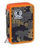 Astuccio 3 Zip Invicta , CAMOU , Mimetico Verde Arancione  , Con CONTENUTO: matite, pennarelli ...