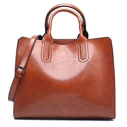Kieuyhqk Damen Damen Leder Schulter Crossbody Top Griff Handtaschen Tote Bag mit abnehmbarem Gurt für Dating Alltag Damen Casual Handtasche Schulter-Handtasche (Color : Brown, Size : Free Size)