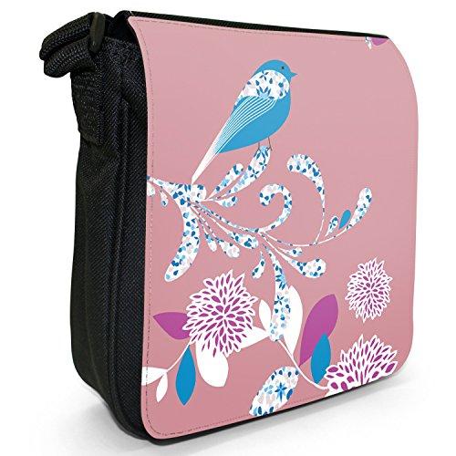 Elegante, motivo: uccellino e fiori Piccola borsa a tracolla in tela, colore: nero, taglia: S Dirty Pink