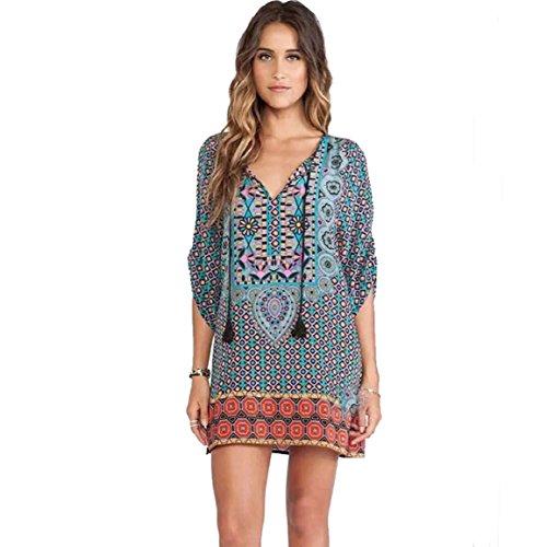 Culater Patrón Mujeres Imprimir Vintage vestido de verano flojo (M)