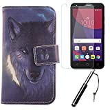 Lankashi 3in1 Set Wolf Design PU Flip Leder Tasche Für Alcatel One Touch Pixi 4 3G 5010D 5