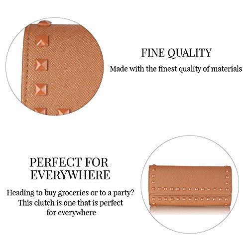 TrendStar Damen Designer Nieten Design Promi-Stil Schöne Clutch Handtasche Lila