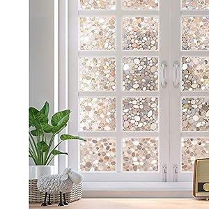 rabbitgoo Fensterfolie 3D Folie für Fenster Dekorfolie Sichtschutzfolie Statisch Glasfolie Selbsthaftend Anti-UV Stein 44.5 x 200 cm