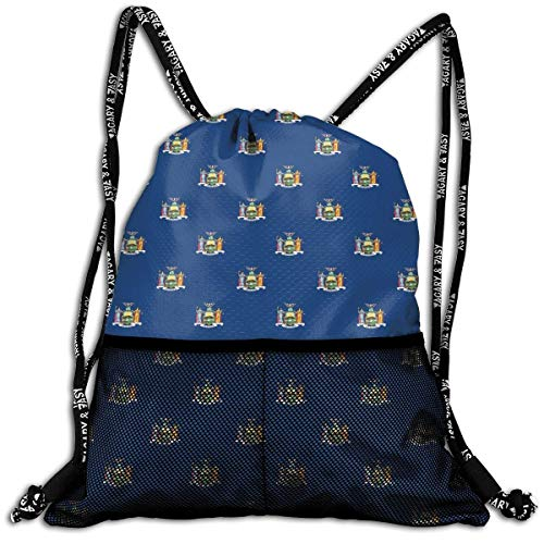 Hipiyoled New York Flag Bulk Drawstring Backpack Cinch Bag Sport Gym Sack for Traveling and Storage