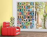 Fenster Wandbild Windows der Welt Fenster Aufkleber Fensterfolie Fenster Tattoo Glas Aufkleber Fenster Kunst Fenster Décor Fenster Dekoration, Maße: 162cm x 108cm
