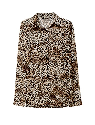 Damen Leopardenmuster Taschen Semi halb schiere Tunika Hemd T-Shirt, Gelb/S (EU 36) (Bluse Semi Schiere Chiffon)