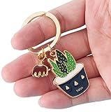 Vikenner Pflanze Keychain Metall-Anhänger Schlüsselanhänger Aloe Schlüsselring Alloy Schlüsselband Auto Handtaschenanhänger Dekor für Frauen Souvenir Geburtstagsgeschenk