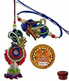 Adiari Fashion Multicolored Zardosi Rakhi Lumba Set with...