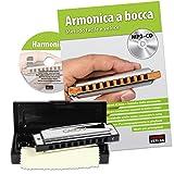 Cascha HH 1600 IT Armonica Blues a Bocca a 10 Fori in Do Maggiore con Custodia e Panno per la Pulizia e la Manutenzione