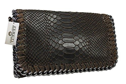 Snake-clutch (FERETI Damen Leder Clutch Tasche 25 farben umhangetasche Abendtasche Schultertasche mit Kette (Dark Brown snake))