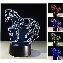 3D Luces de la noche, 7 colores cambian la lámpara de la noche del control del tacto, el mejor regalo para los niños de los amigos (Caballo)
