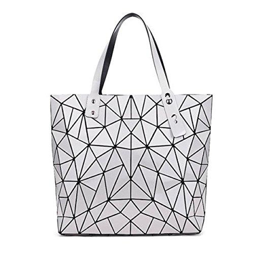 Hand Lingge Paket Geometrie Laser- Gefaltet Mode Handtaschen White