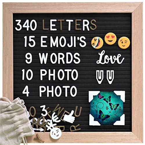 Gadgy ® Retro Fieltro Letter Board | 15 Emojis, 10