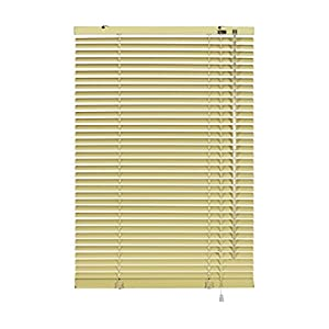 GARDINIA Aluminium Venetian Blinds, Visibility, Light and Glare Protection, Wall and Ceiling Mounting, Mounting Kit Included, Aluminium Venetian Blinds, Beige, 40 x 175 cm (WxH)