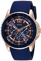 Guess W0673G1 - Reloj con correa de piel, para hombre, color azul / marrón de Guess