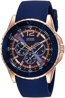Guess W0673G1 - Reloj con correa de piel, para hombre, color azul / marrón