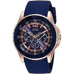 Guess W0673G1 - Reloj con correa de piel, para hombre, color azul/marrón