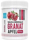 Sauna Meersalz Peeling Salz Saunasalz I Granatapfel 500g I mit Jojobaöl I Kosmetik für die Haut I Ideale Wellness