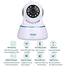TENVIS Cámara de Vigilancia Seguridad HD 1280x720P P2P H.264 1.0 MP Pan / Tilt WiFi Inalámbrico Visión Nocturna Detección de Movimiento iOS Android Tablet