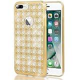 iPhone 7 Plus Hülle Handyhülle von NALIA, Durchsichtiges Slim Silikon Case mit Strass, Metall-Optik Dünner Schutz Glitzer-Steine Bling Cover Etui, Bumper Handy-Tasche für Apple iP 7+, Farbe:Gold