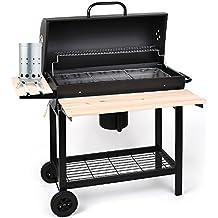 oneConcept Beefbutler Set parrilla de madera BBQ ahumadero + encendedor eléctrico 350W (gran superficie de grill asado, fácil y rápido de encender, 3 rejillas)