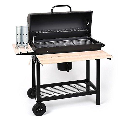 oneConcept Beefbutler Set barbecue charbon BBQ Smoker (large surface de cuisson, capot de fumage, quatre clapets d'aération, 3 grilles chromées à différentes hauteur)