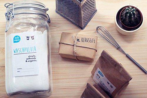 hello simple - DIY Waschpulver zum Selbermachen (700g) - Olivenöl - ideal für Allergiker, Babys und empfindliche Haut geeignet: ohne Enthärter, Enzyme, Duftstoffe & Plastikverpackung! - 4