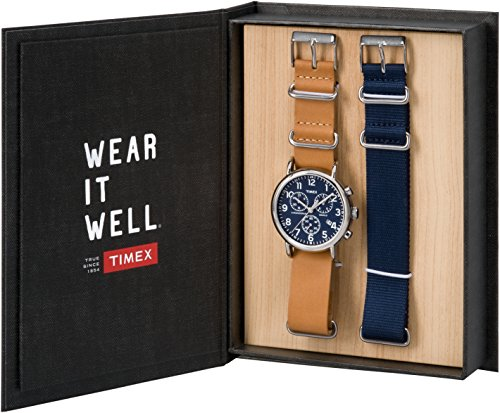 Timex Unisex Erwachsene Chronograph Quarz Uhr mit Leder Armband TWG012800
