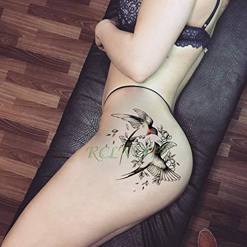 Modeganqing adesivo per tatuaggio impermeabile a 8 pezzi pedale per braccio personalità tatuaggio fiore rosa ragazza blu 19 * 12 cm