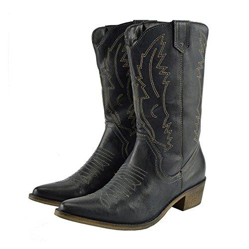 Zehen Stiefel Western Breite Spitz Cowboy Leder Damen W9YeEIDH2