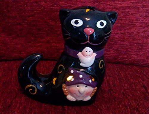 Halloween gato negro cerámica figura de Halloween té luz velas decoración, cerámica, negro, Black Cat Witch Motif
